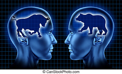 Stock market traders and investing financial symbol with two businessmen representing the bear and bull markets and a graph on a black background.