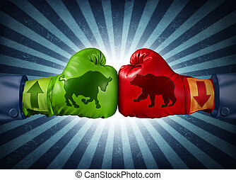 Stock market trading business concept with two boxing gloves with arrows going up and down with bull and bear icon emblems stitched to the glove as investment decisions and financial success with radial background.