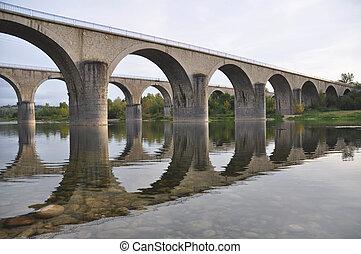 Stone bridges crossing over the river Ardeche