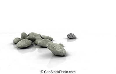 stones scattered on white reflected background