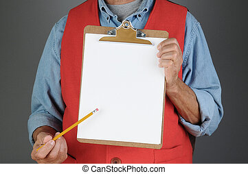 Store Worker Pointing to Clip Board