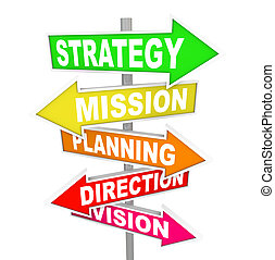 The words Strategy, Mission, Planning, Direction and Vision on colorful road signs pointing toward a way forward for success and achieving goals