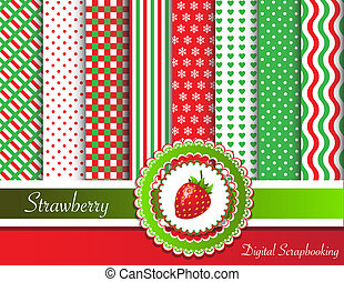 Digital scrapbooking paper swatches in red and green tones with ribbon and sweet strawberry. EPS10 vector format.
