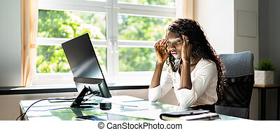 Stressed Sick African American Employee Woman