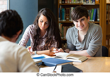 Students getting set for an assignment