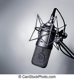 Black and white image of a studio microphone.