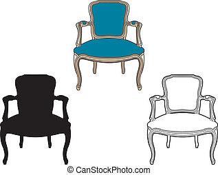 Style armchair blue