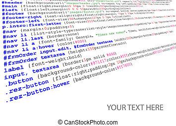 Stylesheet source code listing - technology background