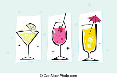 Martini and Cocktails glasses. Take hot summer mixed drinks! Vector illustration.