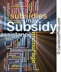 Subsidy background concept glowing