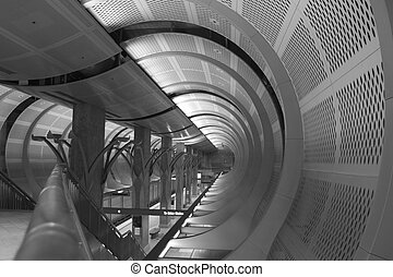 Black and White of a subway station in Los Angeles
