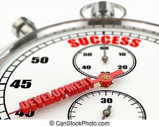Success and development concept. Close up stopwatch. 3d