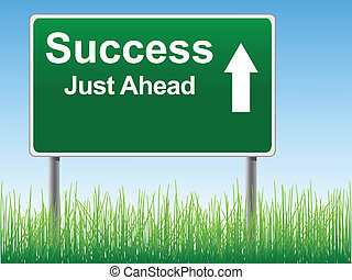 Success road sign on the sky background, grass underneath.