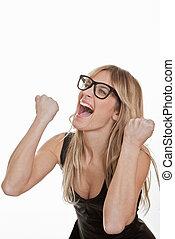 success, successful woman celebrating