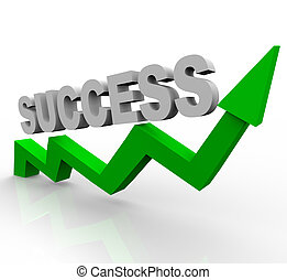 The word success on a rising green arrow