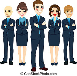 Team of five successful and confident business men and women standing with arms crossed and positive smiling expression