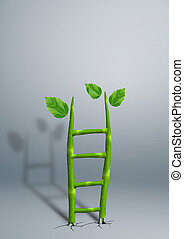 successful growth creative business concept, plant as ladder