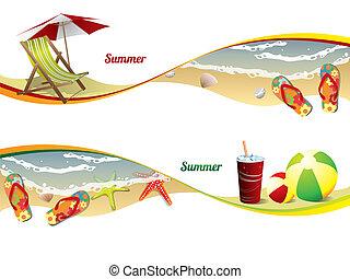 Summer beach banners