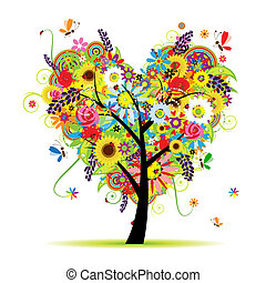 Summer floral tree, heart shape