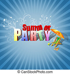 Colourful 3D Text, decorated with floral ornaments, a beach lounger, a cocktail and flip-flops on a blue sunburst background.