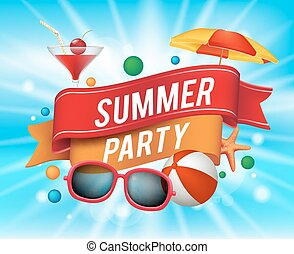 Summer Party Poster with Colorful Elements and a Text in a Ribbon with Blue Background. Vector Illustration