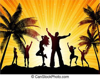 Silhouettes of people dancing on a tropical background