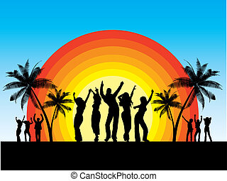 Silhouettes of people dancing on summer background
