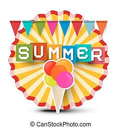 Summer Retro Label. Vintage Orange Circle Sticker with Flags, Colorful Summer Title and Ice Cream.