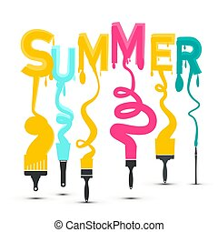 Summer Title with Colorful Brushes Vector Design