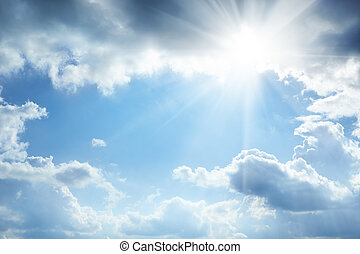 Sun and white clouds in the sky