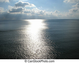 Sunlight path on a sea surface in Crimea