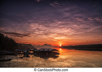 Sunrise in a small fishing village.
