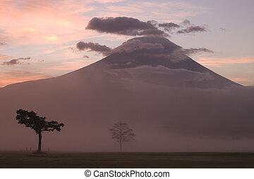 Sunrise on Mount Fuji in the Fall as seen from Asagiri Plateau