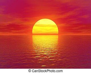 sunset and sky, sky and sun, sea and sunset
