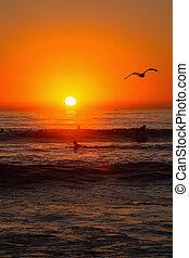 sunset at a california beach