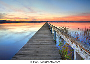 Sunset at Long Jetty Tuggerah Lake NSW Australia