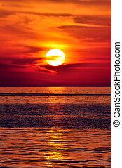 Sunset in the Mediterranean. Island of Crete, Greece.