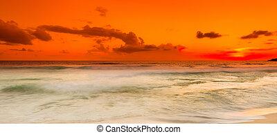 Sunset over the sea. Panorama