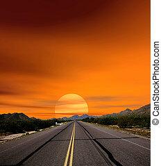 Sunset Skies desert road