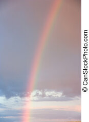 sunset sky and a rainbow