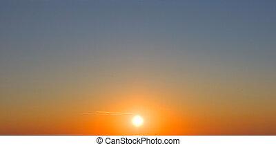 sunset sky, the sun