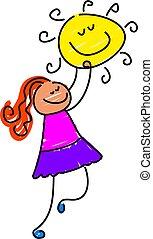 little girl reaching for the sun - toddler art series