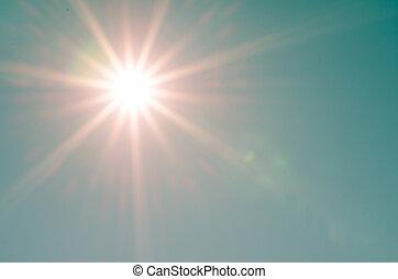 sunshine on blue sky background