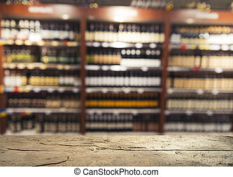 Supermarket background, Counter over blur grocery background, Wooden desk, table, shelf and blur woman shopping at supermarket, Wood counter for grocery store retail product display backdrop, template
