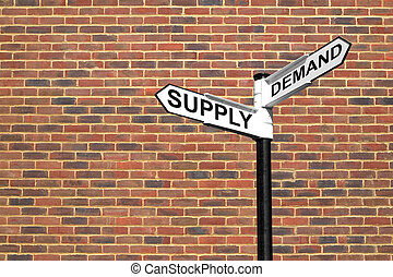 Concept image of a signpost with Supply and Demand against a brick wall