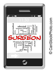 Surgeon Word Cloud Concept on Touchscreen Phone