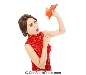 surprised asian young woman point to a empty red envelope