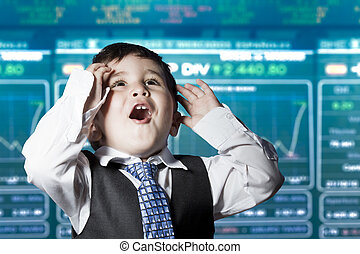 Surprised businessman child in suit with funny face, stock market
