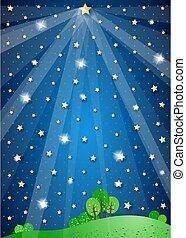Surreal landscape with big star and lights, vector illustration