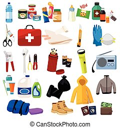A vector illustration of survival kit icon sets